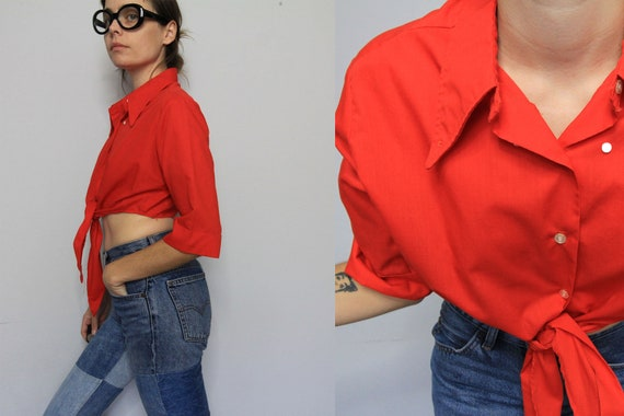 RED 70's Wing Collar Tie Front J.C.Penney Crop Top