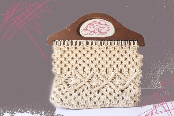 70's Macrame Wooden Handle Bag