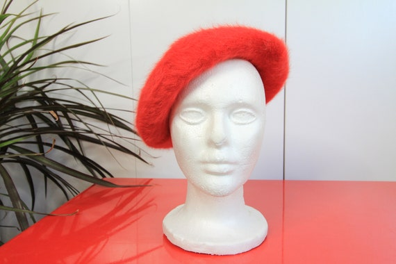 Mid Century Vintage Red Mohair Beret
