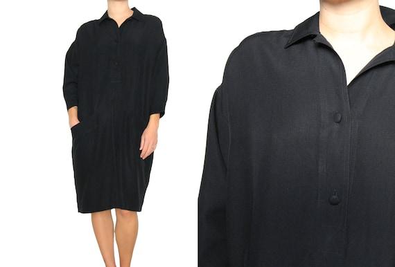 Donna Karan Black Label Silk Long Sleeve Trapeze D