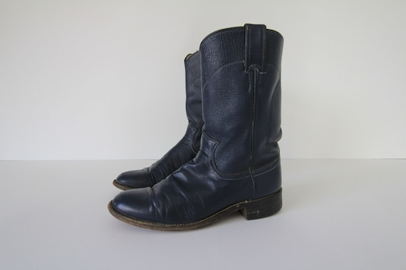 80's Vintage Justin Deep Navy Blue Cowboy Boots