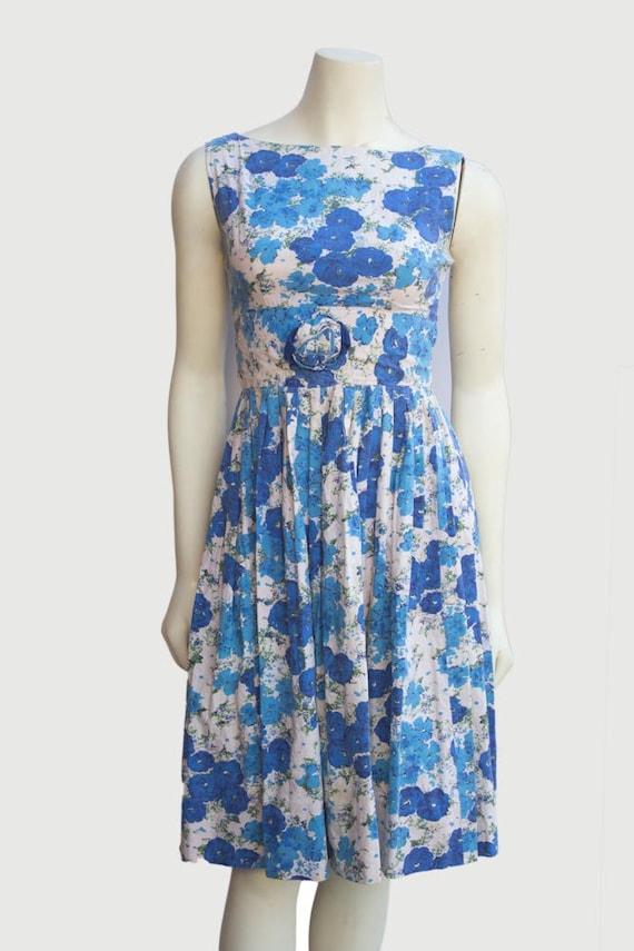 50's Vintage Blue Floral Cotton Sleeveless Tea Dre