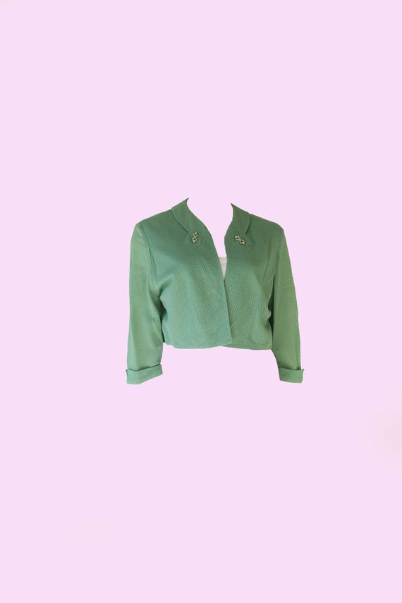 1940's Vintage Sea Foam Green Bolero Jacket w/ Co… - image 1