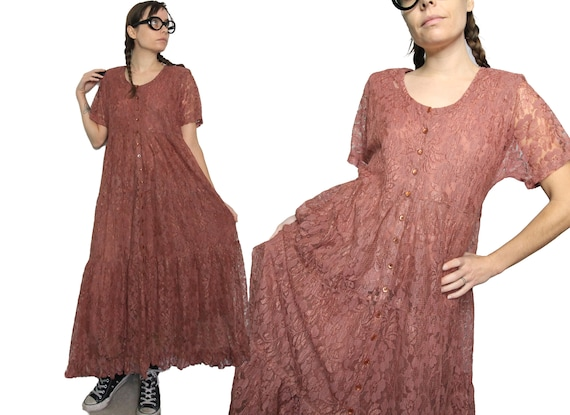 Early 90s Vintage Lace Rayon Deep Nude Maxi Dress