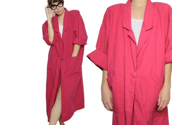 80's Pink Oversize Dolman Sleeve Cotton Duster