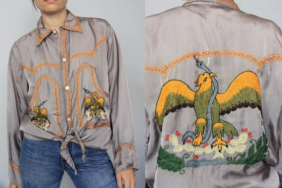 50's Silk Mexican Coat of Arms Sukujan Embroidered