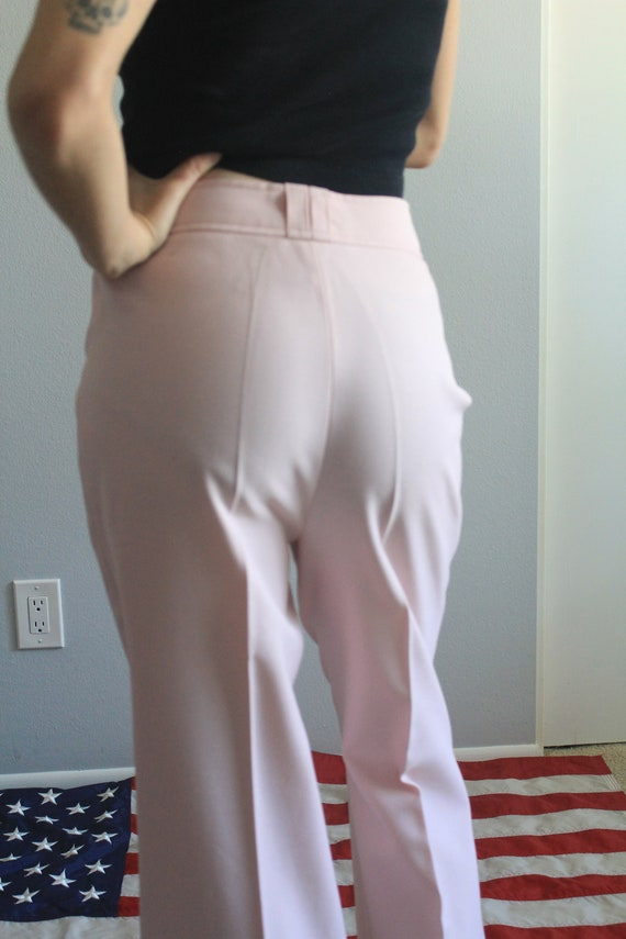 70's Wide Leg Flare Pastel High Waist Trousers - image 3