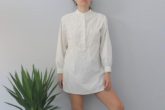 70's Vintage White Cotton Mandarin Collar Tunic