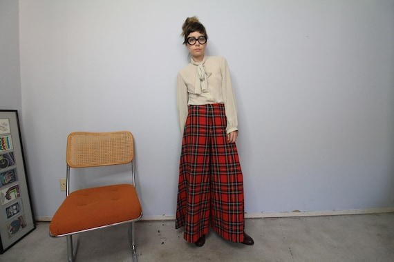 70's Wide Leg Tartan Plaid Saks 5th Avenue Wool P… - image 2
