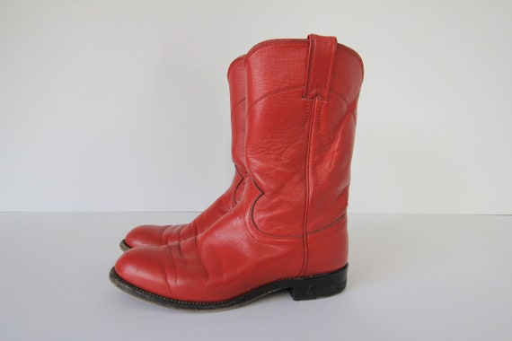 80's Vintage Justin Red Leather Cowboy Boots