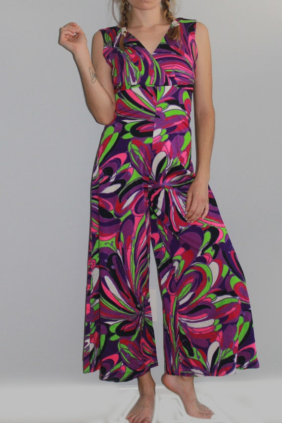 60's Psychedelic Purple Tone Wide Leg Cropped Jum… - image 2
