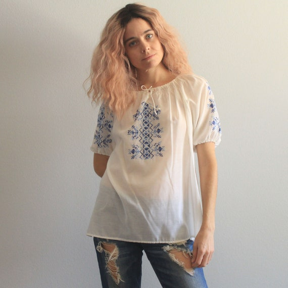 70's Super Sheer Hand Embroidered Peasant Blouse