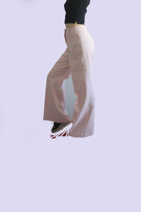 70's Wide Leg Flare Pastel High Waist Trousers - image 1