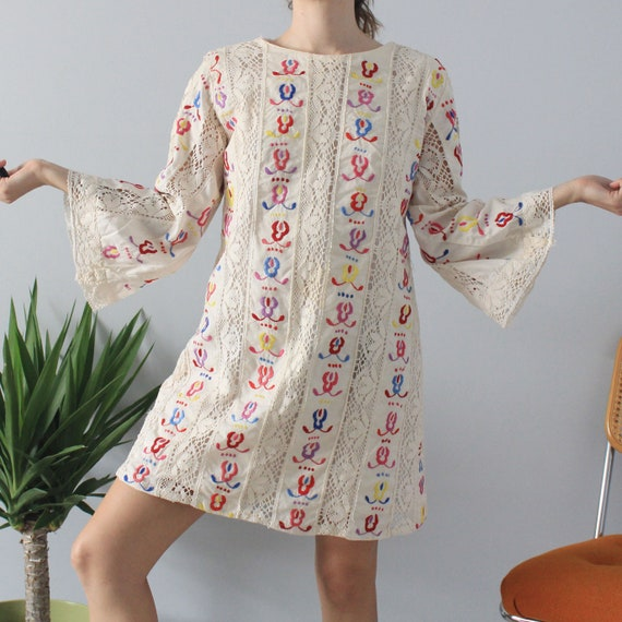 70's Vintage Natural Cotton Embroidered Crochet Be