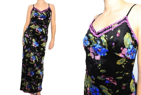 Betsey Johnson Black Floral Velvet 90s Vintage Max