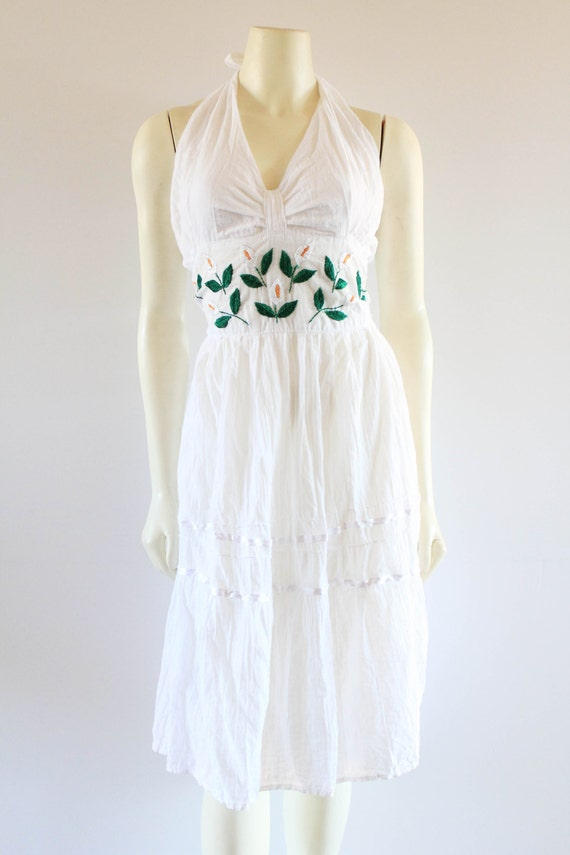 b29acacd62 Ultra Femme 70 s Vintage White Cotton Gauze Embroidered