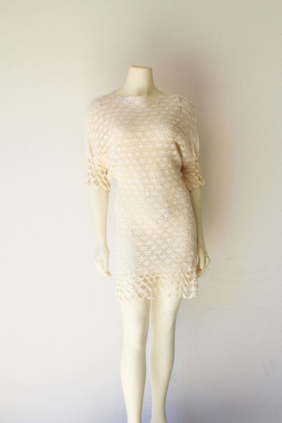70's Vintage See Through Crochet Dolman Sleeve Shi