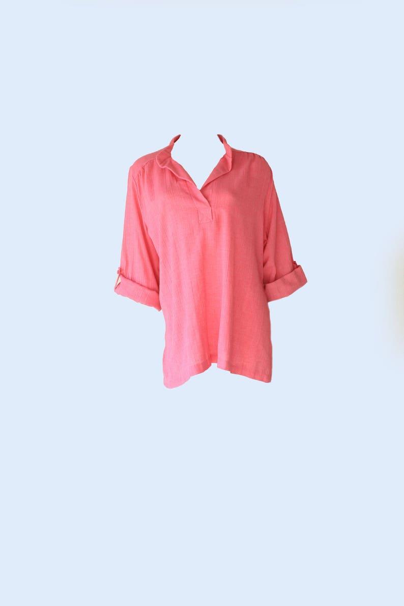 70/'s Vintage Pink Flowy Boho Festival /'Lady Winn of California/' Linen Top