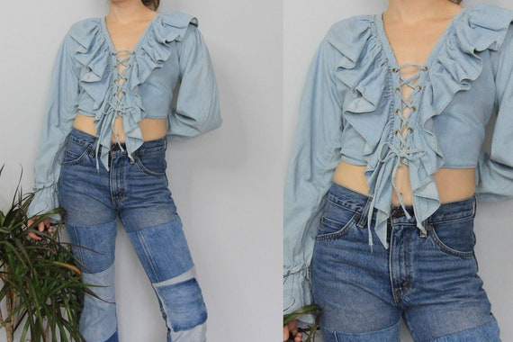 90's Denim Ruffle Front Poet Sleeve Corset Lace Cr