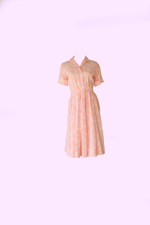 Mid Century Pastel Pink Fit and Flare Vintage Dres