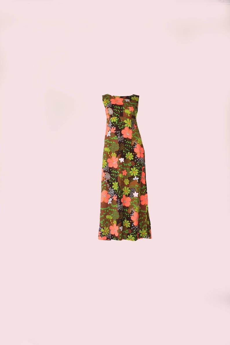 468196a31da39 60's Vintage Neon Floral Psychedelic Kawaii Maxi Dress | Etsy