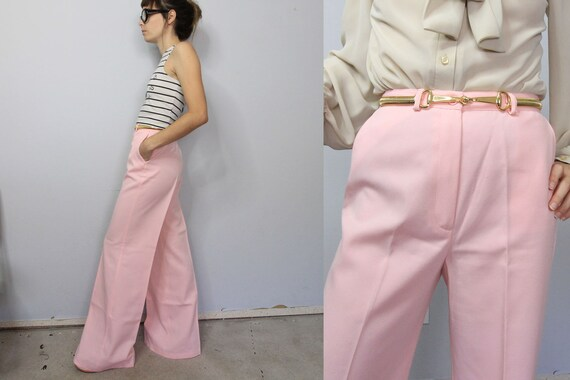 70's Pastel Pink Wide Leg High Waist Trousers