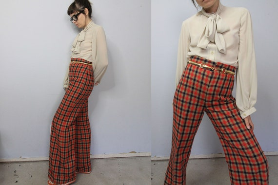 70's Tartan Plaid Wide Leg High Waist Pants