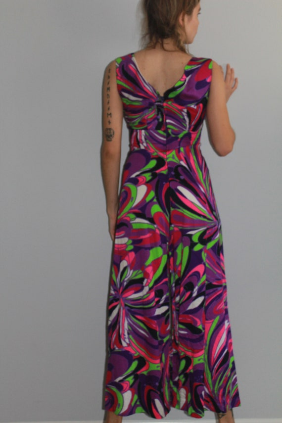 60's Psychedelic Purple Tone Wide Leg Cropped Jum… - image 5