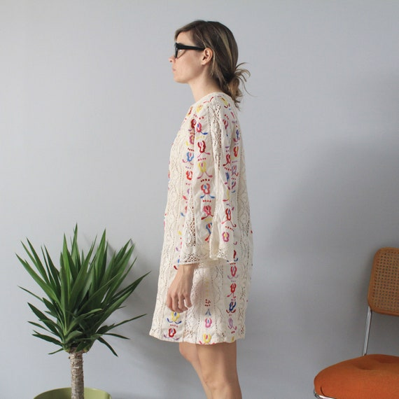 70/'s Vintage Natural Cotton Embroidered Crochet Bell Sleeve Shift Dress