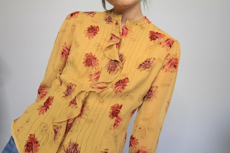 Floral Silk Riffle Front 90/'s Vintage Blouse Laura Ashley Silk Tan