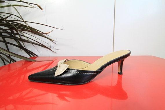 90s Vintage Black Leather Cream Bow Tie Italian Ma