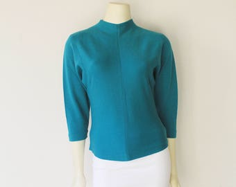 Late 60's Vintage Teal German 3/4 Sleeve Wool Mock Turtle Neck