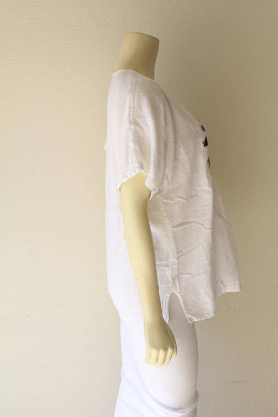 70/'s Vintage Sun Moon Stars Hand Embroidered Cotton Gauze Boho Festival Tunic