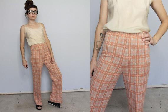 70's Peach Plaid Double Knit High Waist Pants