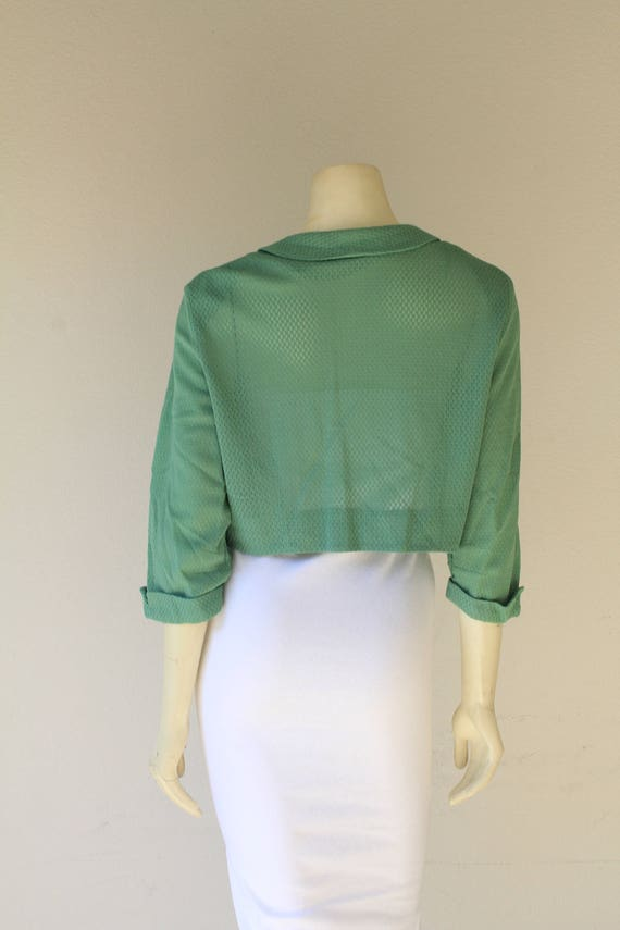 1940's Vintage Sea Foam Green Bolero Jacket w/ Co… - image 4
