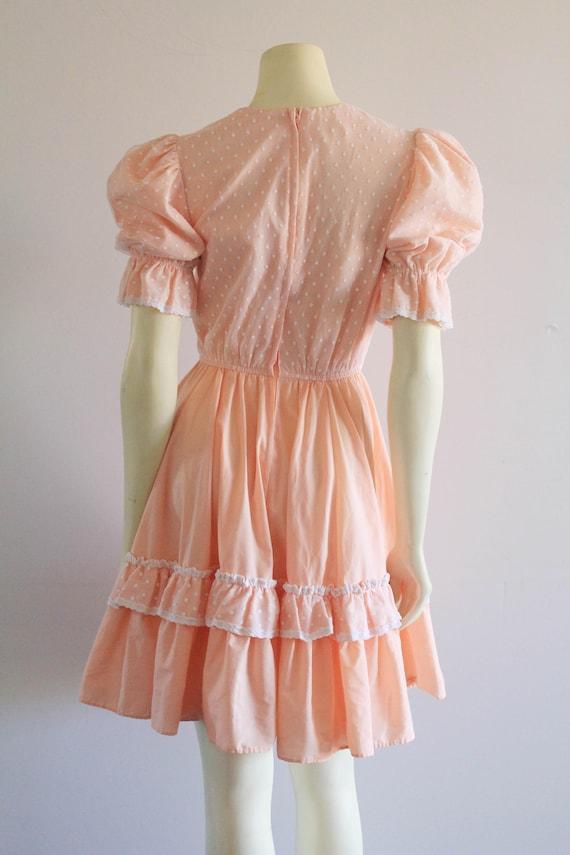 Late 70's Vintage Puff Sleeve Ruffle Flare Peach … - image 4