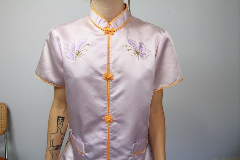 80/'s Purple /'Washable Silk/' Butterfly Embroidered Cheongsam Blouse