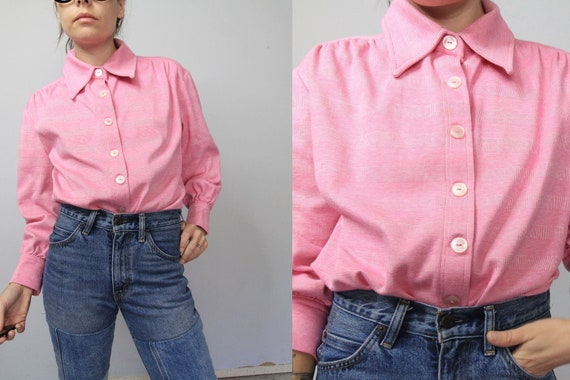 70's Pink Double Knit Winged Collar Shirt