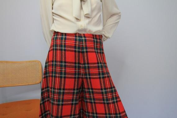 70's Wide Leg Tartan Plaid Saks 5th Avenue Wool P… - image 5