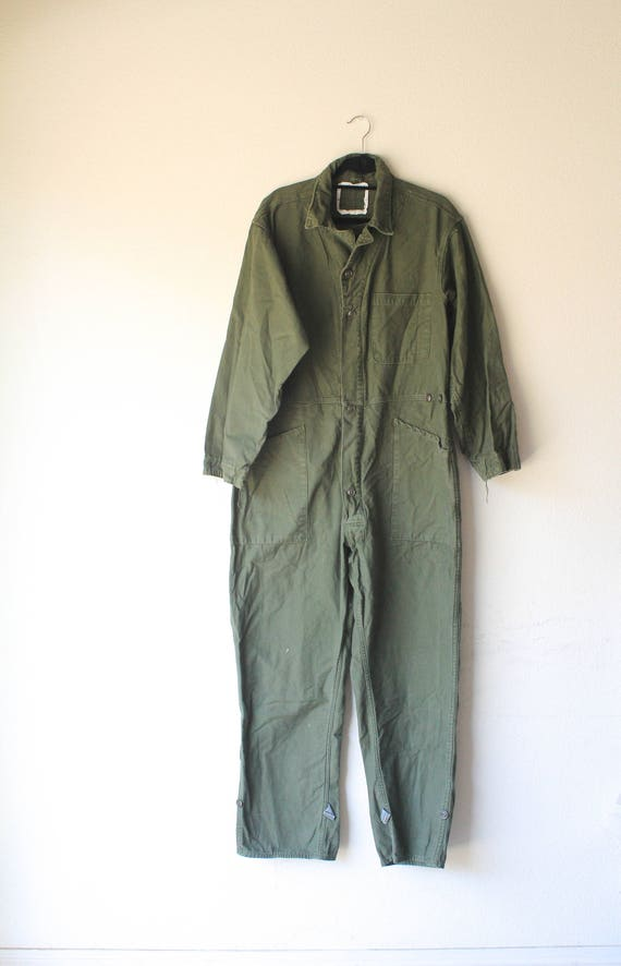 Vintage Men's Army Mechanic Flight Military Green
