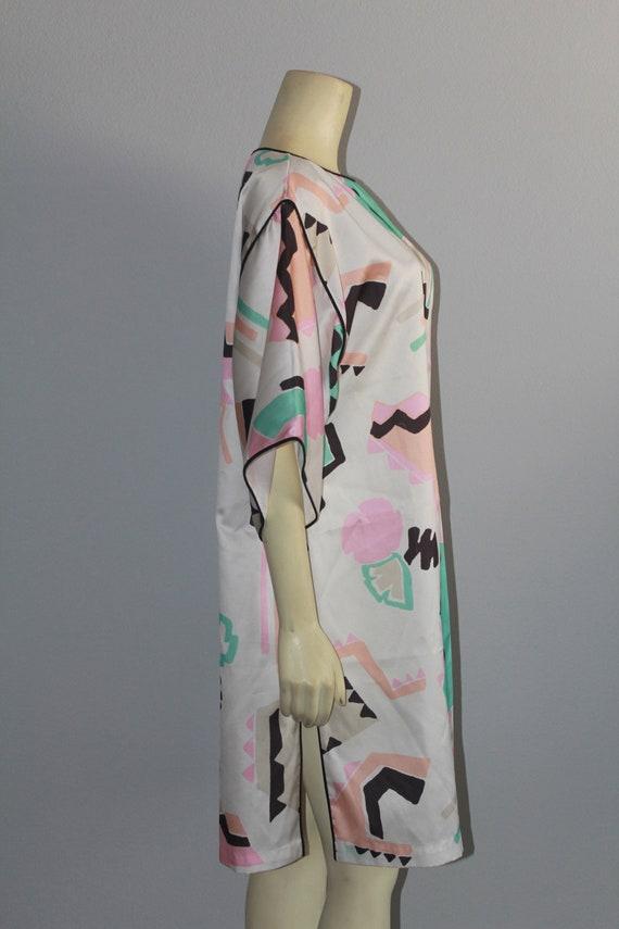 Mary McFadden Geometric Pastel Caftan Silky Top - image 4