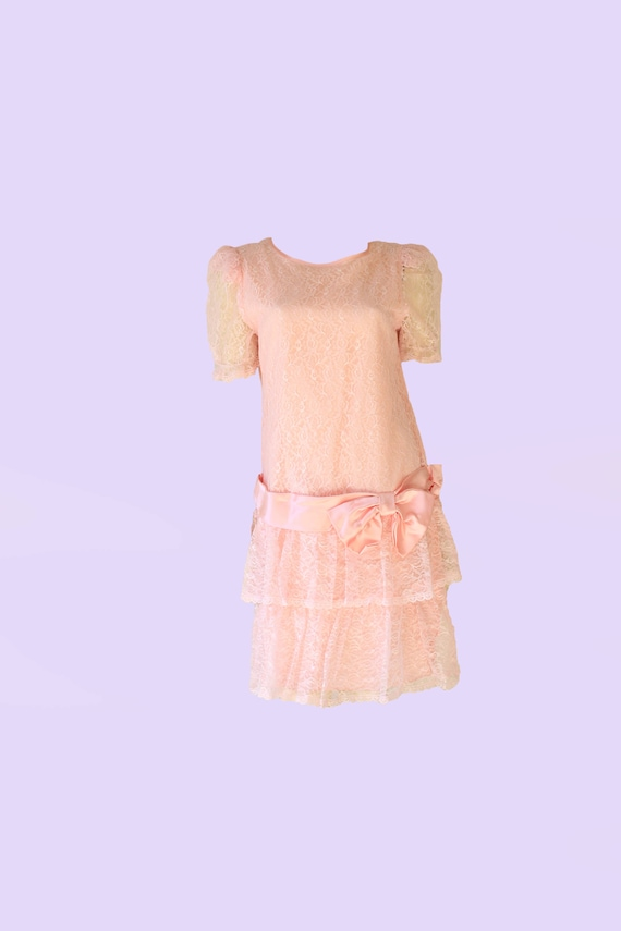 80's Pastel Pink Lace Puff Sleeve Drop Waist Dress