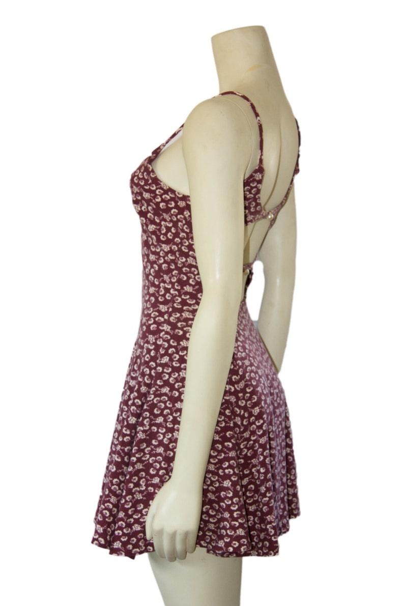 90/'s Vintage Betsey Johnson Oxblood Floral Knit Fit and Flare Open Back Skater Dress