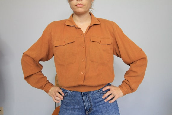 80's Burnt Orange Cotton Gauze Banded Long Sleeve