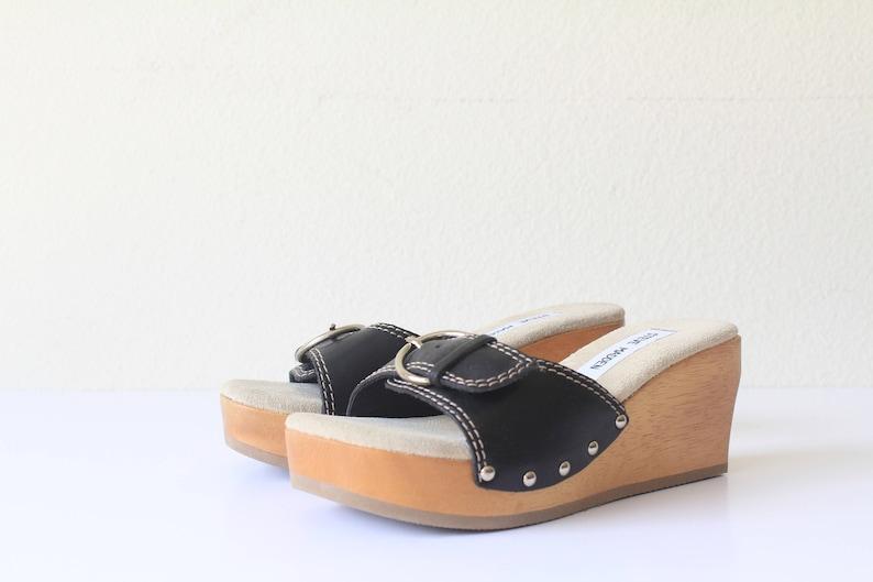 90/'s Deadstock Steve Madden Wooden Wedge Clog Style Mules