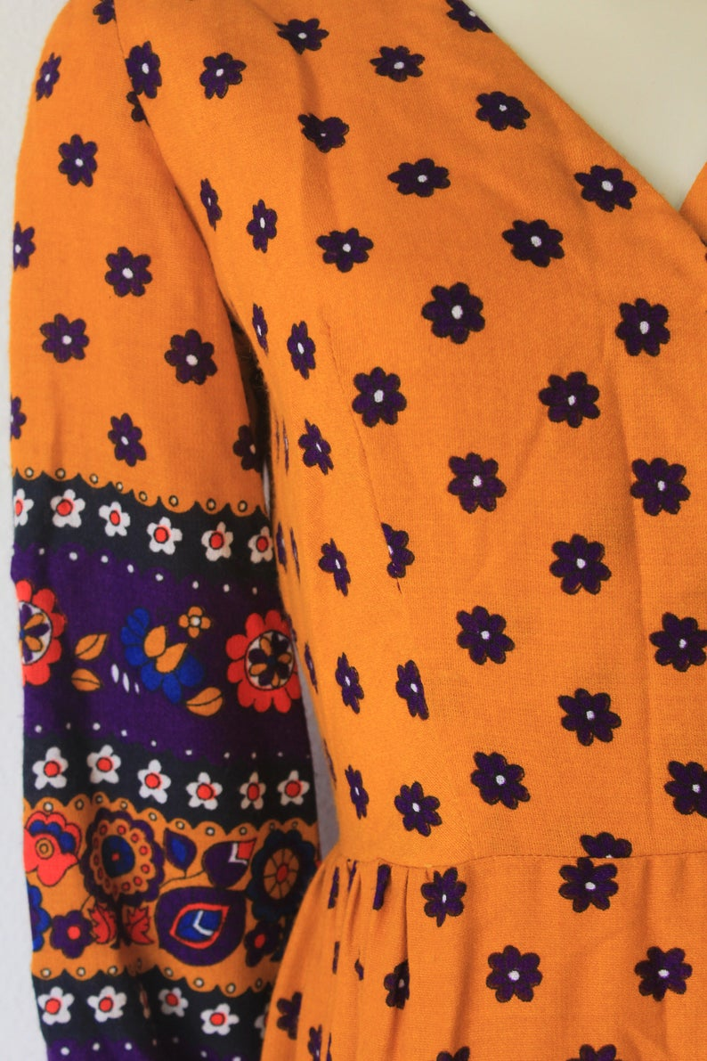 60/'s70/'s Vintage Mustard Yellow Long Sleeve Floral Cotton Festival /'Night Beat/' Maxi Dress
