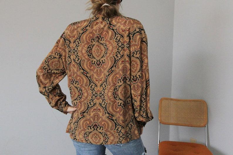80/'s Neutral Silk Ornate Filigree Pussy Bow Dana Buchman Blouse