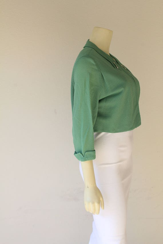 1940's Vintage Sea Foam Green Bolero Jacket w/ Co… - image 3