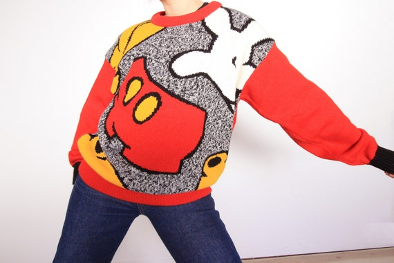 80s Abstract Mickey Mouse Acrylic Knit Pullover Sw