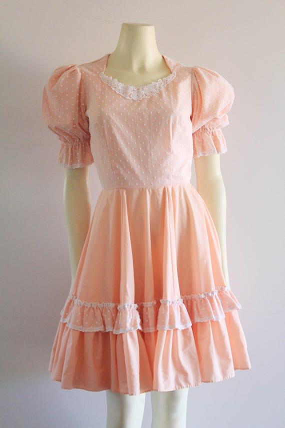 Late 70's Vintage Puff Sleeve Ruffle Flare Peach … - image 2